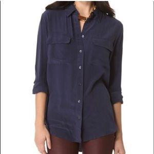 Equipment Navy silk blouse size S